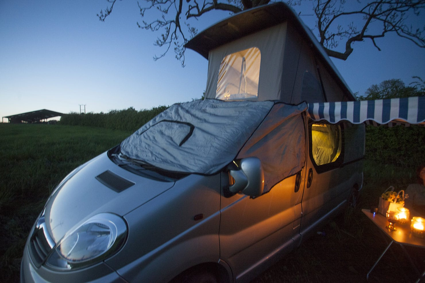 The padded front screen stops condensation, cold and light. Allowing for a peaceful sleep in Sylvester the camper van.
