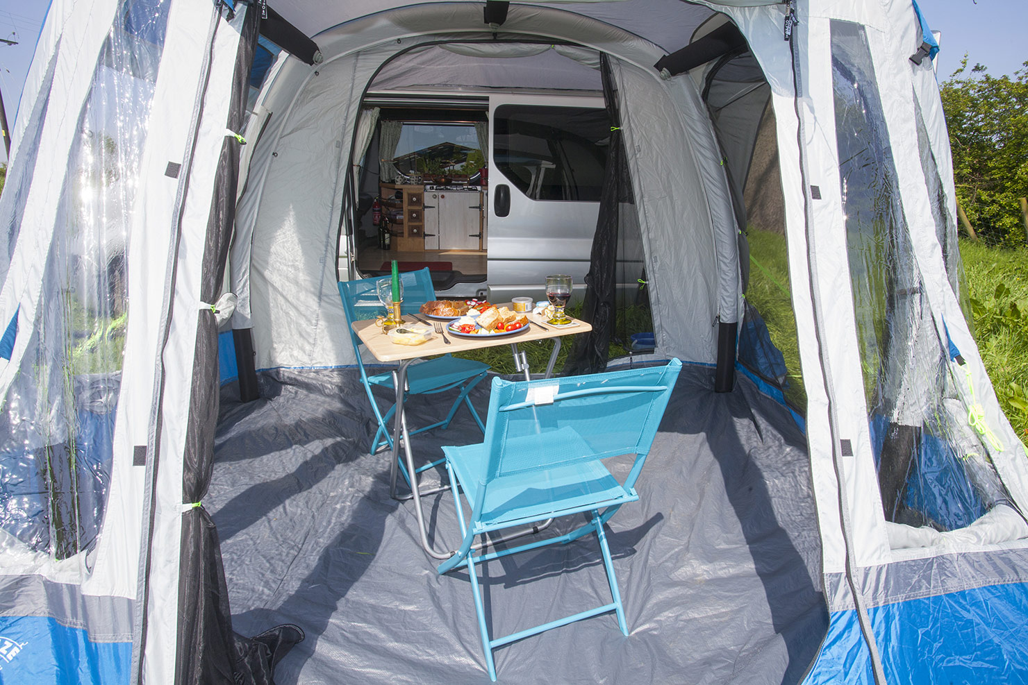 Spacious Awning for relaxing in or sleeping.