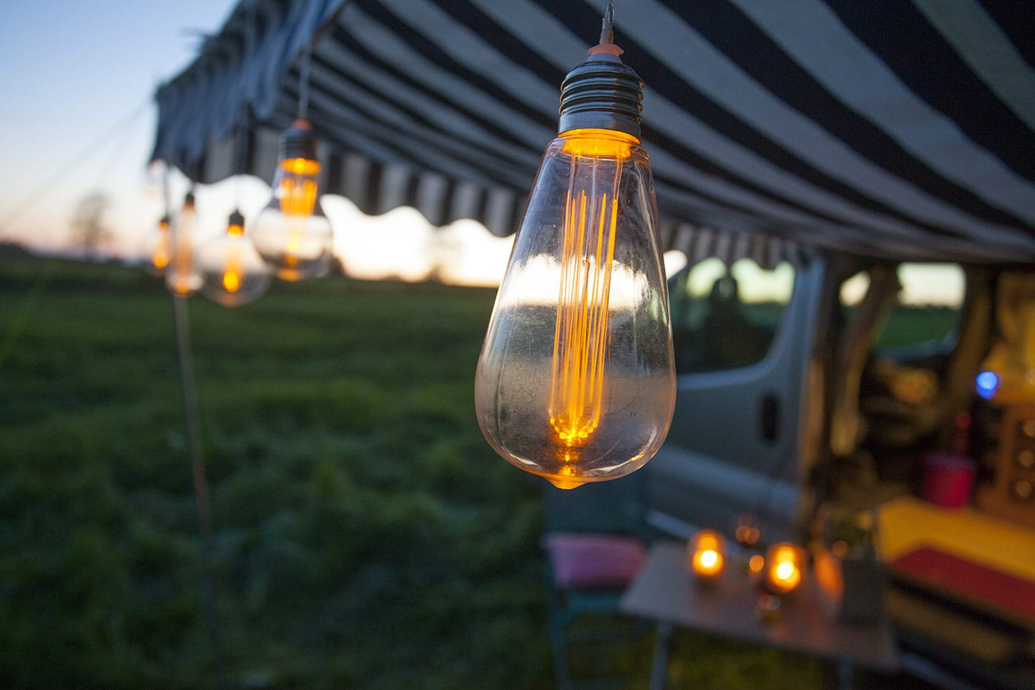 Retro solar lighting to set the scene for alfresco dining or simply with a glass of wine.