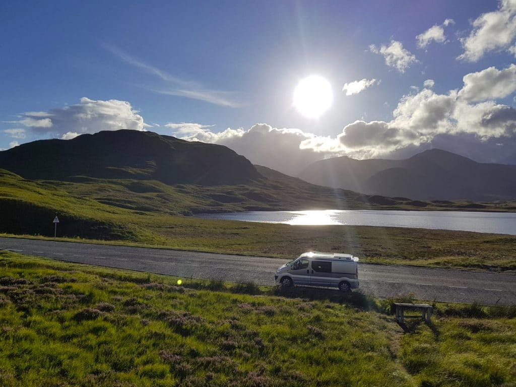 A view of Sylvester the camper van taken in Scotland