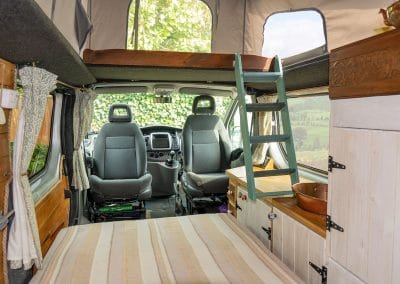 The new upper bunk which is easily removed for storage at the rear.