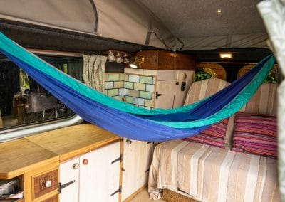 I have always wanted a hammock in a van, now at last I have one! Just need a mountain view/forest or ocean to look out onto :)